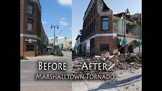Marshalltown Tornado, before and after, Iowa tornadoes, damage courthouse,