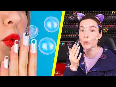 Testing Useless Nail Hacks (Blowing Bubbles Through My Nails)
