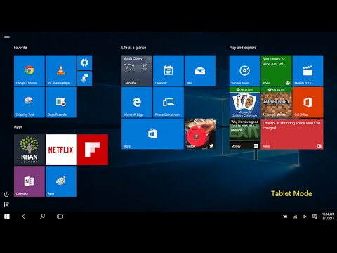 Win 10 switch between Desktop mode Tablet mode Start Menu Start Screen