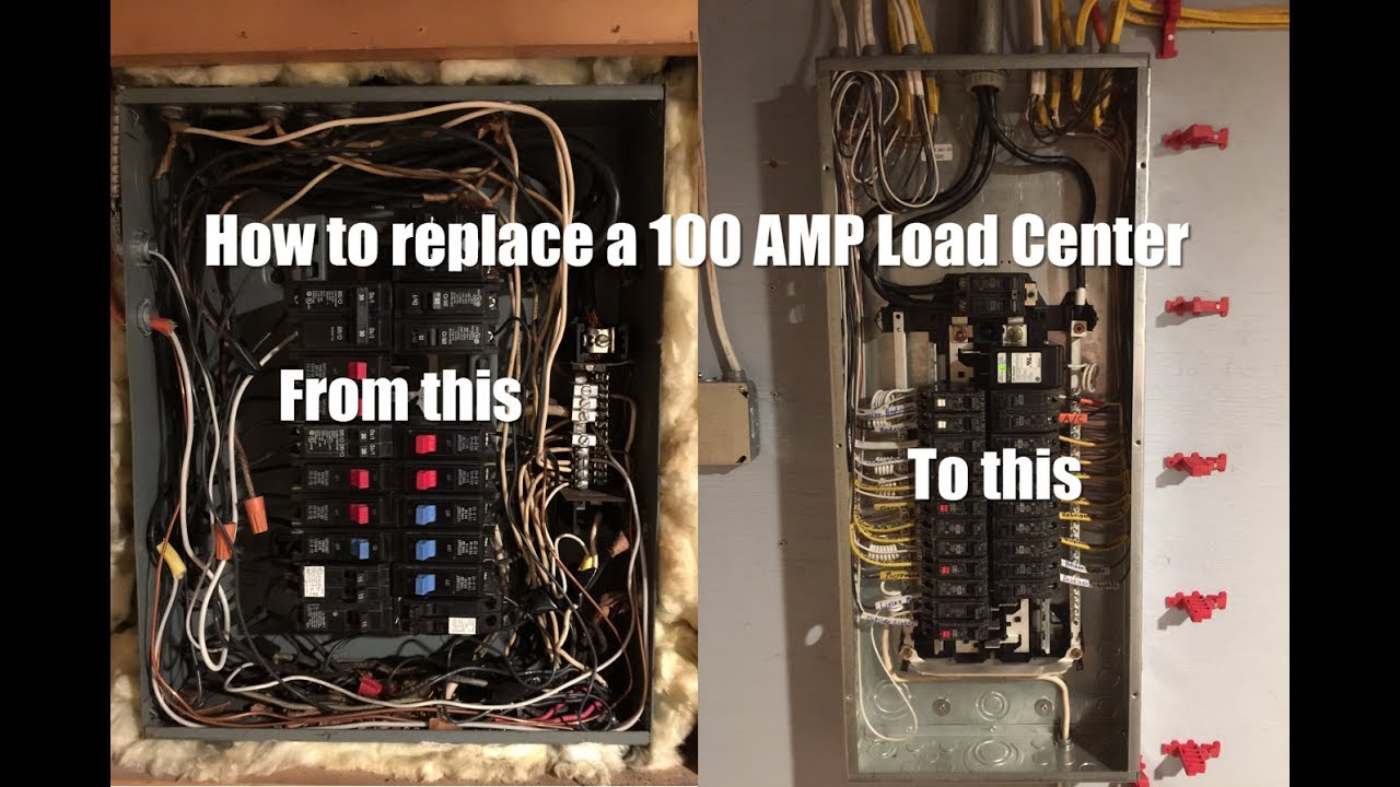 hight resolution of how to replace a 100 amp load center youtube a 100 amp main breaker panel wiring
