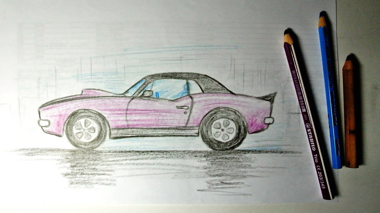 How to Draw a Chevrolet Camaro - YouTube