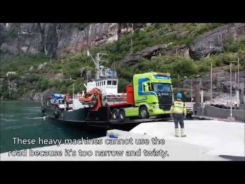 Nordic Crane truck and mobile crane disembarking from M/S Shjandy in Lysebotn