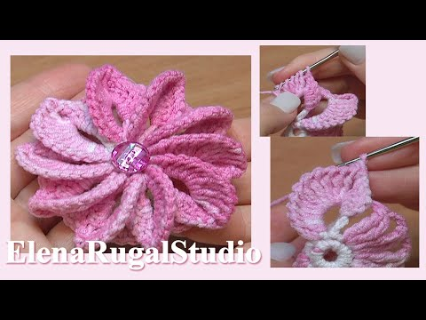 Crochet Flowers Patterns Youtube : How To Crochet Flower Asymmetrical Petals Tutorial 43 Egzotyczny ...