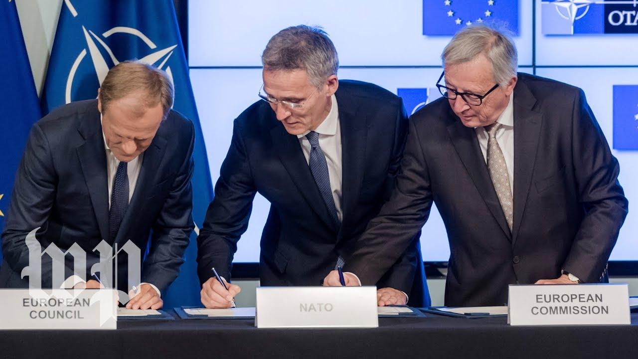 Ahead of NATO summit, European leaders urge solidarity