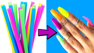 DIY: HOW TO MAKE FAKE NAILS FROM STRAWS #2 - Strong Method - 5 minute crafts