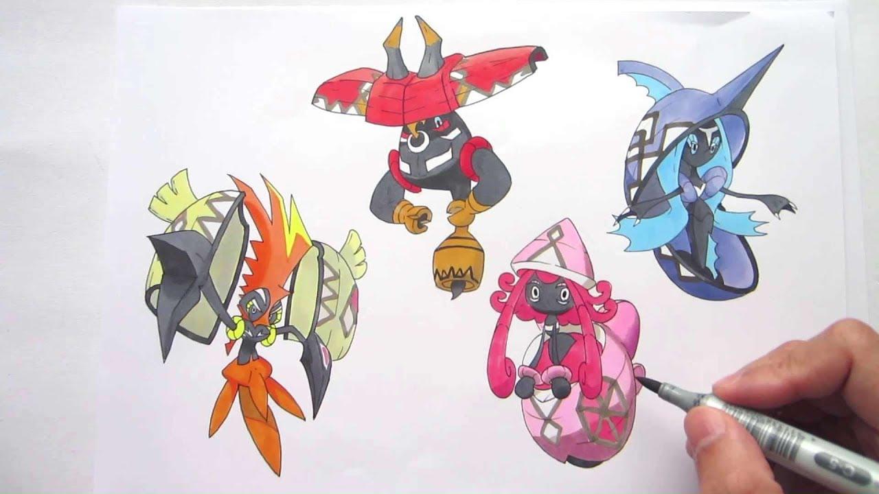Let S Draw Pokemon Tapu Koko Tapu Lele Tapu Bulu Tapu Fini