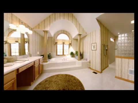 Large And Luxury Bathroom Idea With Glass Blocks And Bath Tub In