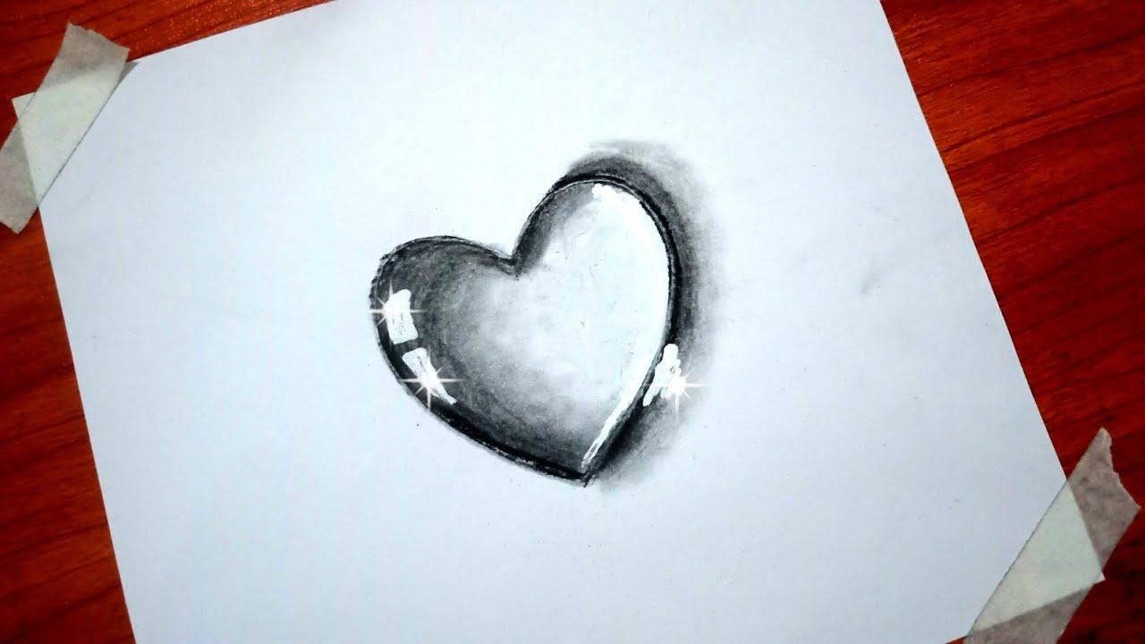 Water drop drawing of Heart | simple way of Heart sketch ...