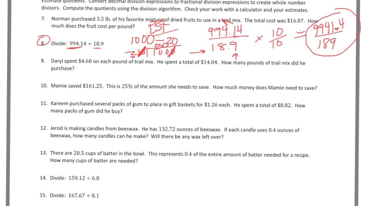 6th grade Module 2 Lesson 14 PS