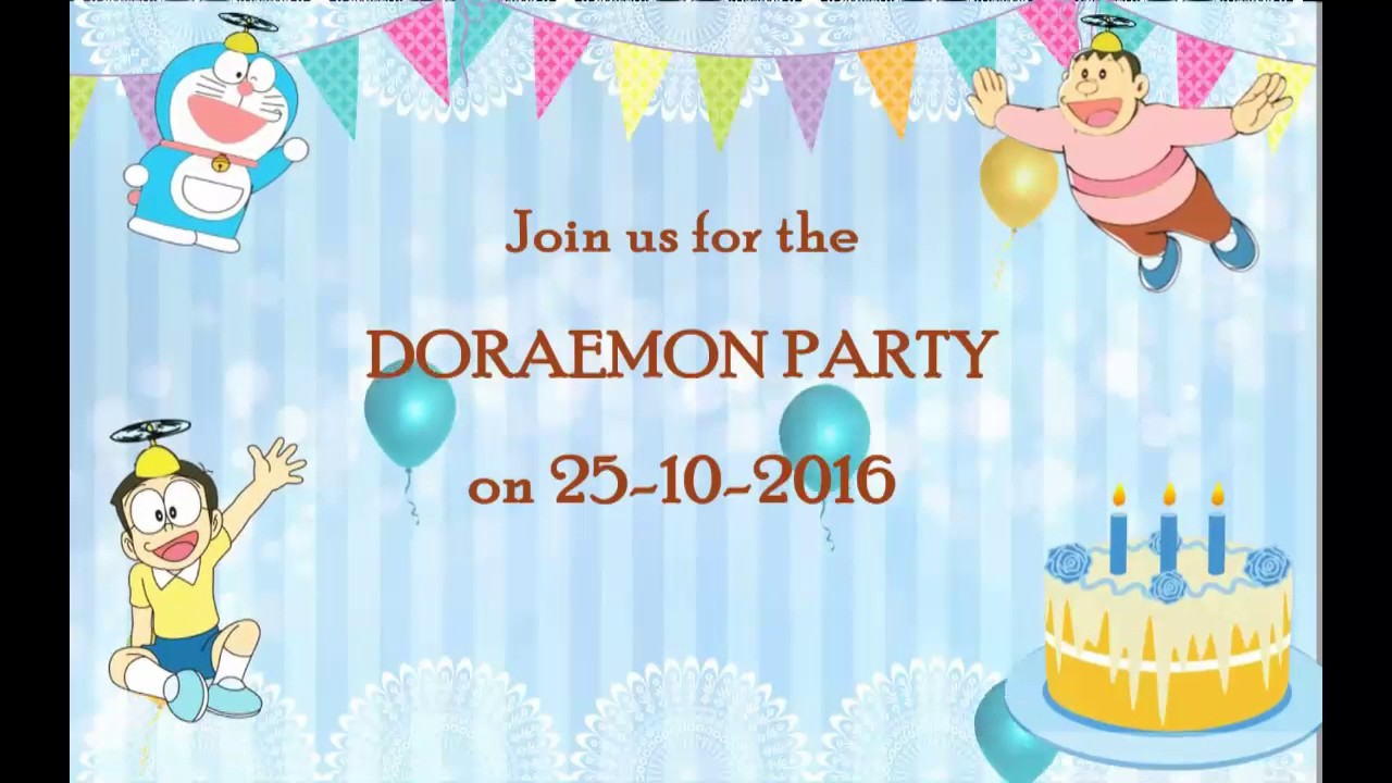 Doraemon theme whats app birthday invitation dor002 youtube partinvitations videoinvitations birthdayinvitations stopboris Choice Image