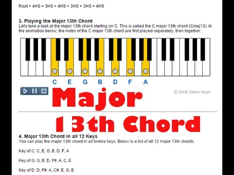 Piano piano chords a major : How to Play Major 13th Chords on Piano - YouTube