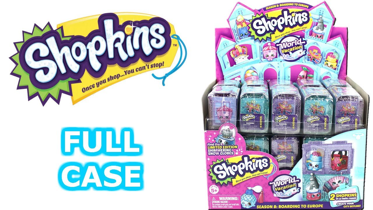 shopkins world vacation season 8 boarding to europe blind box full case unboxing opening entire. Black Bedroom Furniture Sets. Home Design Ideas