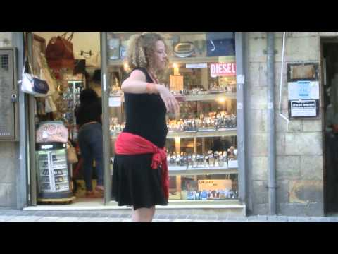 20140630 19:37  Merav is dancing at the pedestrian street of Jerusalem