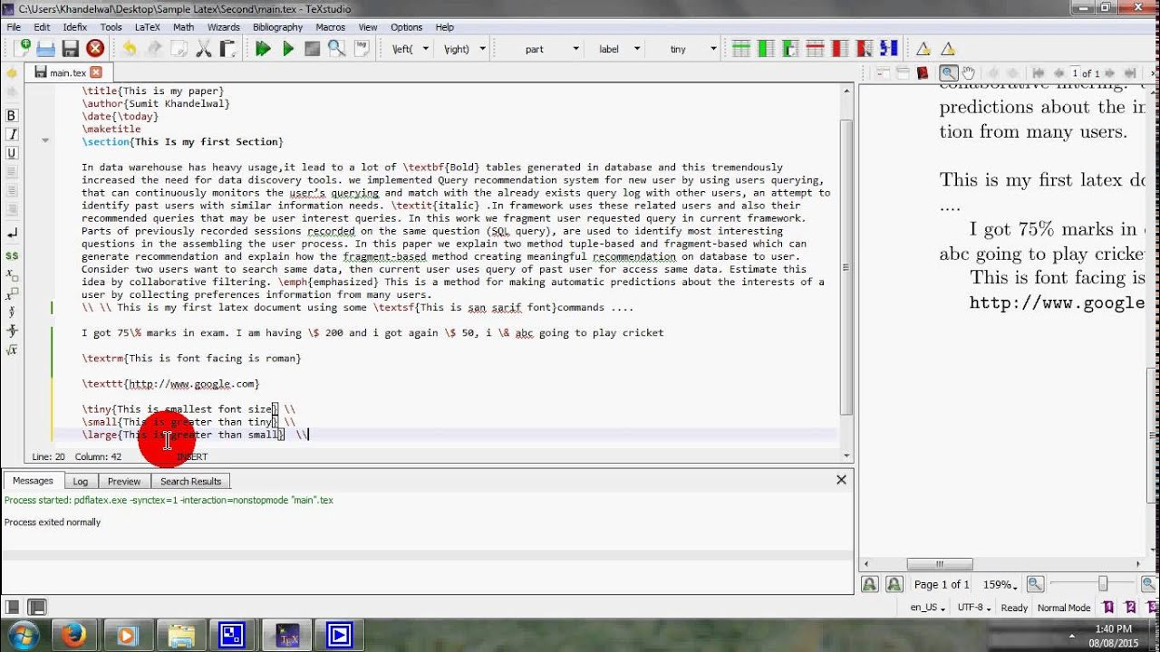 Change Font Size in Latex - YouTube