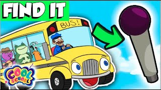 FIND The Microphones!  Wheels On The Bus Sing-A-Long | Find It Games | Cool School