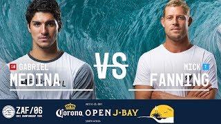 Gabriel medina battles mick fanning in heat 1 of the quarterfinals at 2017 corona open j-bay. #wsl #jbaysubscribe to wsl for more action: https://goo...
