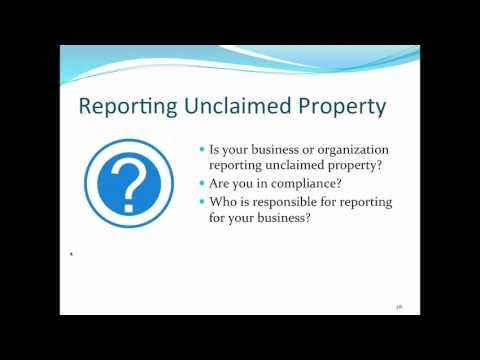 SCR Webinar: Unclaimed Property Program Overview