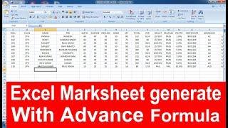 Automatic Generate School mark sheet advanced formulas in Excel