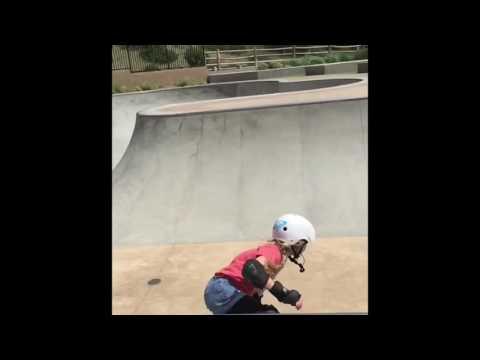 Sierra Kerr skateboarding girl age 9 . Bowl skating Alga Norte Skatepark