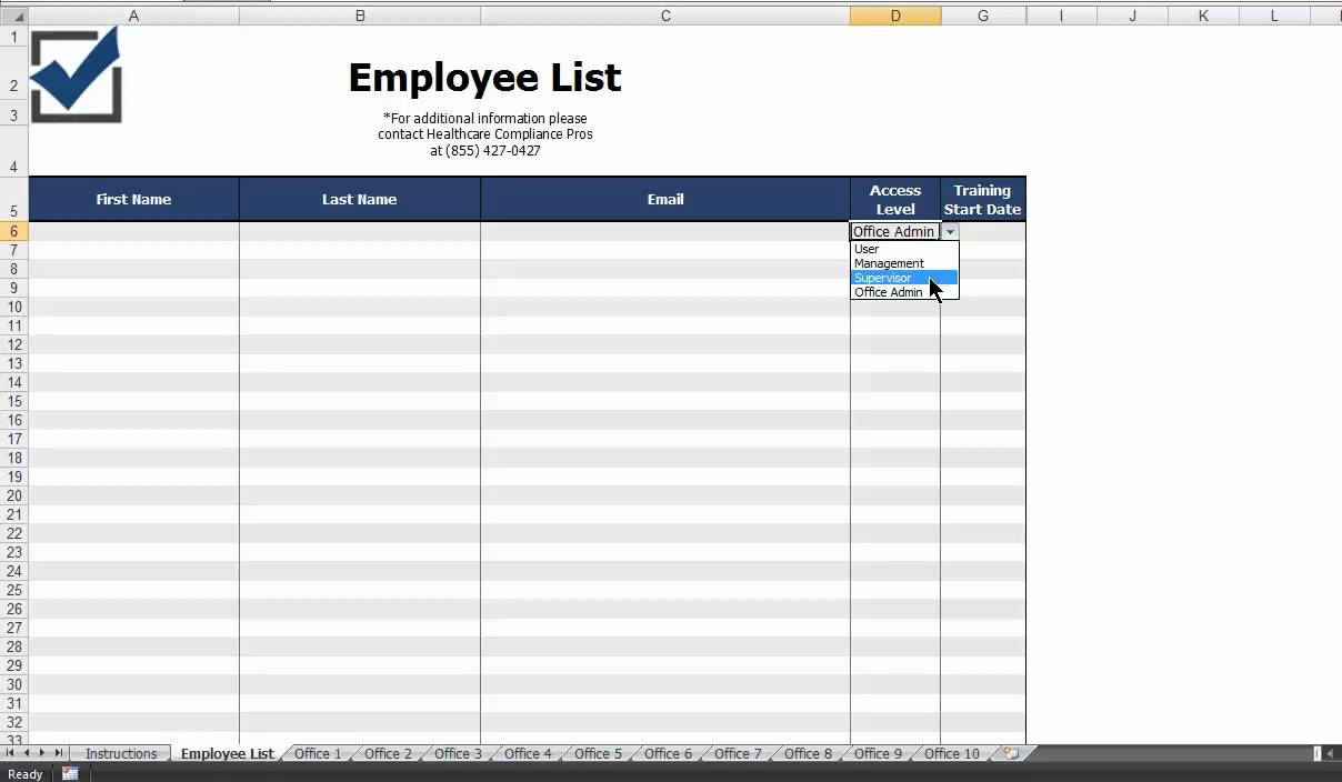 how do i complete the employee list template
