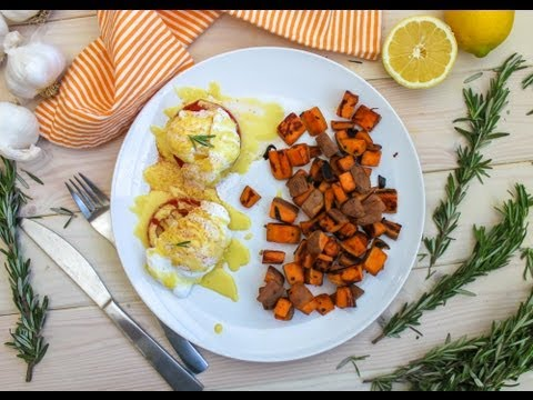 Eggs Benedict Recipe with Roasted Tomatoes and Spicy Sweet Potatoes