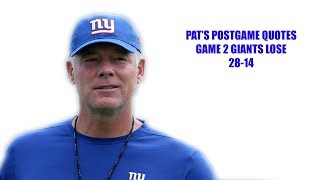 New York Giants- Pat Schumur post game press conference New York Giants vs Buffalo Bills Week 2