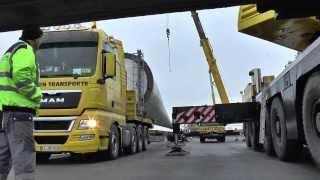 Schiffsverladung von Rotorblättern im Eurohafen Haren-Meppen