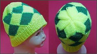 Шапочка узором энтерлак. Шапочка узором. Энтерлак. Шапка спицами. (knitting hat, enterlak)