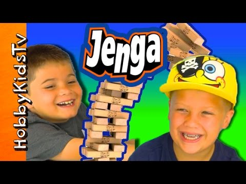 Jenga Game Fun! HobbyPig + HobbyTiger Competition CHALLENGE by HobbyKidsTV