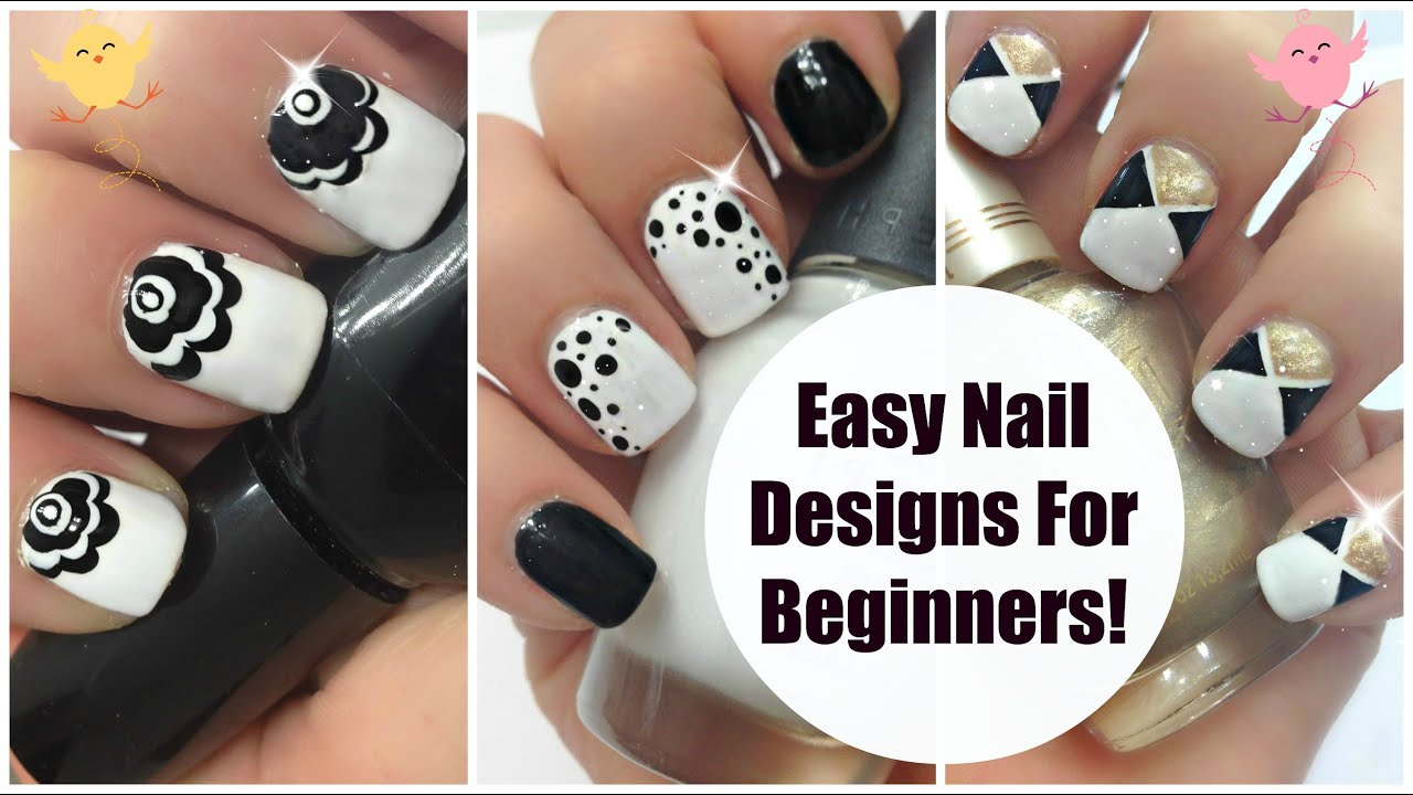 Cute Easy Nail Designs Art For Beginners 3 Black Gold White