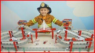 ПОЖАРНЫЕ МАШИНКИ и Пожарный скоростной трек - Пожарный Даник и видео для детей #проМашинки