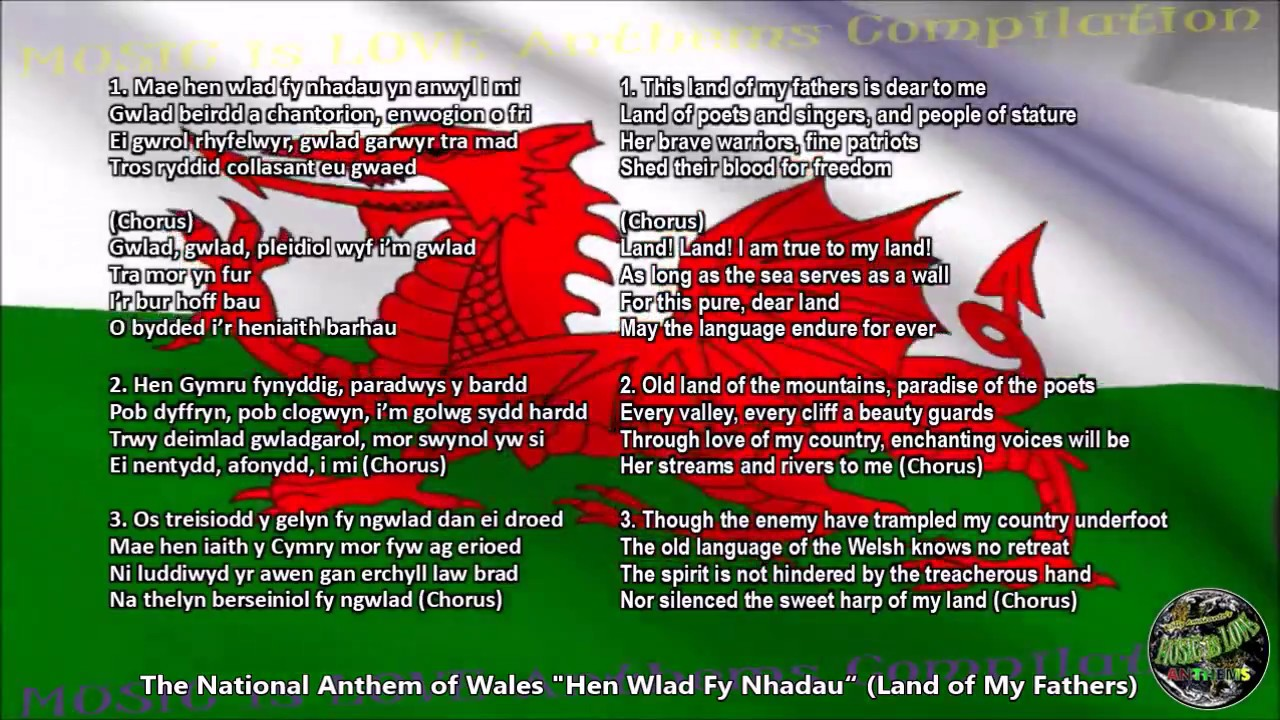 Wales National Anthem with music orchestra, vocal chorale, and lyrics Welsh  w/English Translation