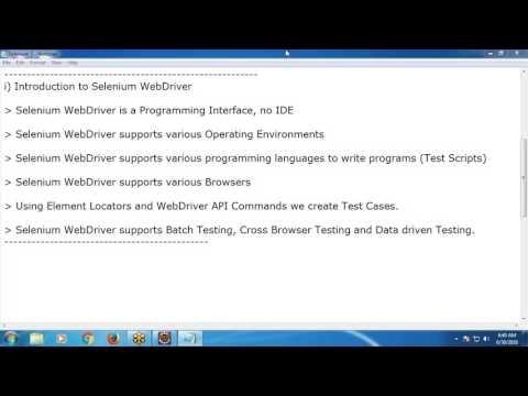 Selenium WebDriver Quick Tutorial - Software Testing