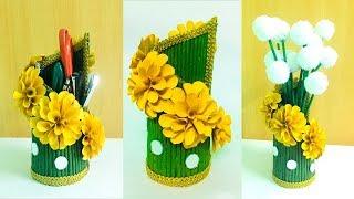 Best out of waste NEWSPAPER CRAFT IDEA /DIY Desk Organizer/Flower Pot/ Waste Material Craft