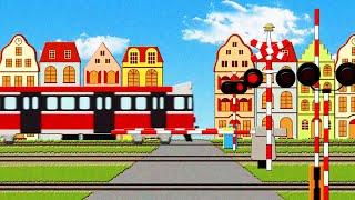Polish Trains and Railroad Crossing for Kids Przejazd kolejowy