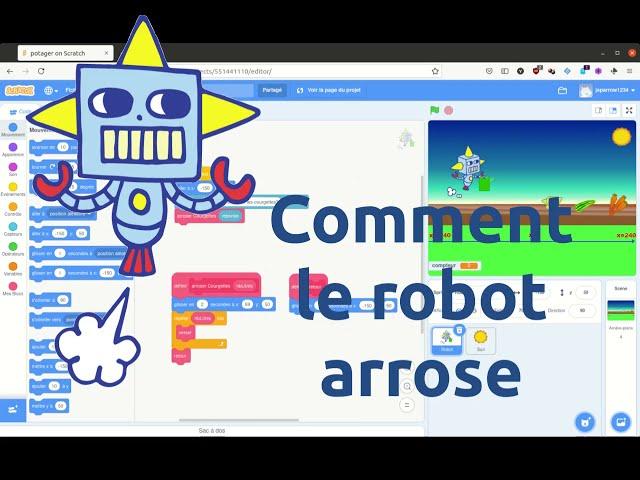 Robotique: Arrosage d'un potager virtuel: niveau 1 . Comment le robot jardinier verse de l'eau