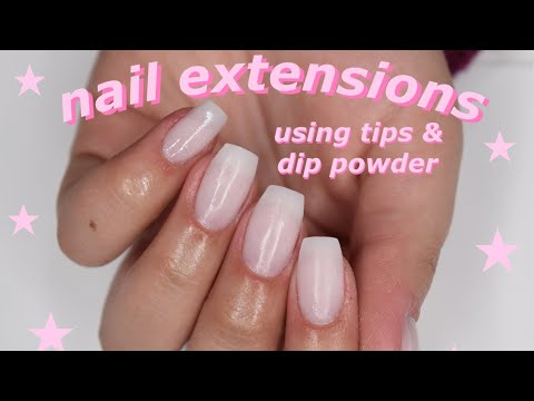 how i do my nail extensions! (tips & dip powder) - YouTube