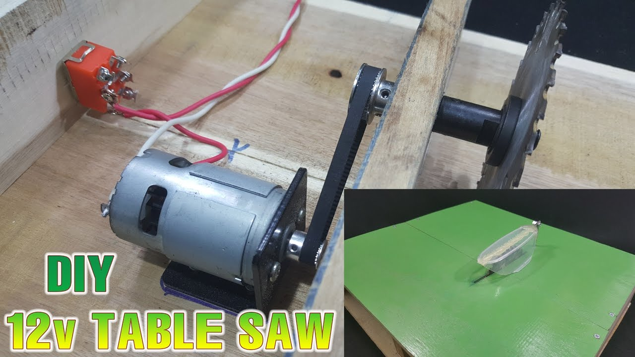 how to make powerful table saw 12volt with 775 motor [ 1280 x 720 Pixel ]
