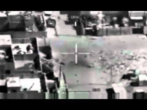 Apache helicopter firing its 30-mm gun on  civilians in Iraq
