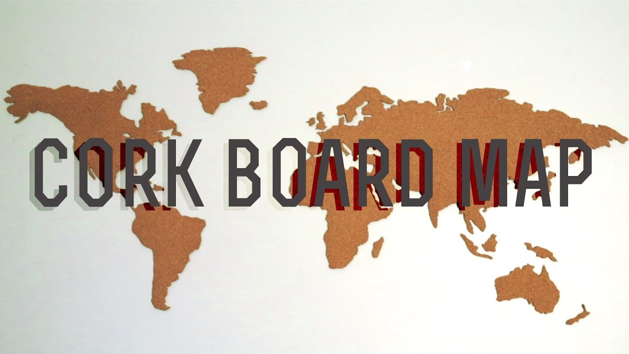 DIY CORKBOARD WORLD MAP YouTube - Large us map stencil