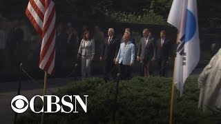 Pence presents flag used at repatriation ceremony to Korean War Memorial