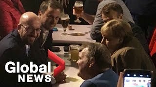 EU leaders share late night pints at Brussels pub