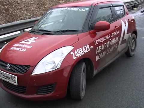 Автомобиль врезался в леера на объездной дороге Седанка – Патрокл