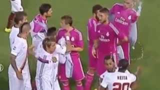Seydou Keita kicks off with Pepe... before Roma's 'friendly' with Real Madrid in Dallas ..