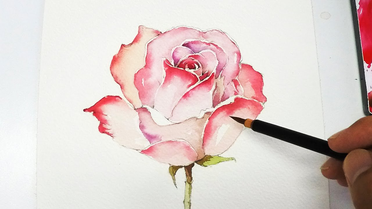 Lvl4 rose painting tutorial youtube for How to paint a rose in watercolor step by step