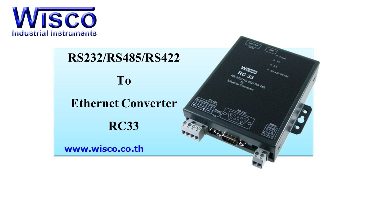 Wisco RC33: RS-232/RS-485/RS-422 To Ethernet Converter - YouTube