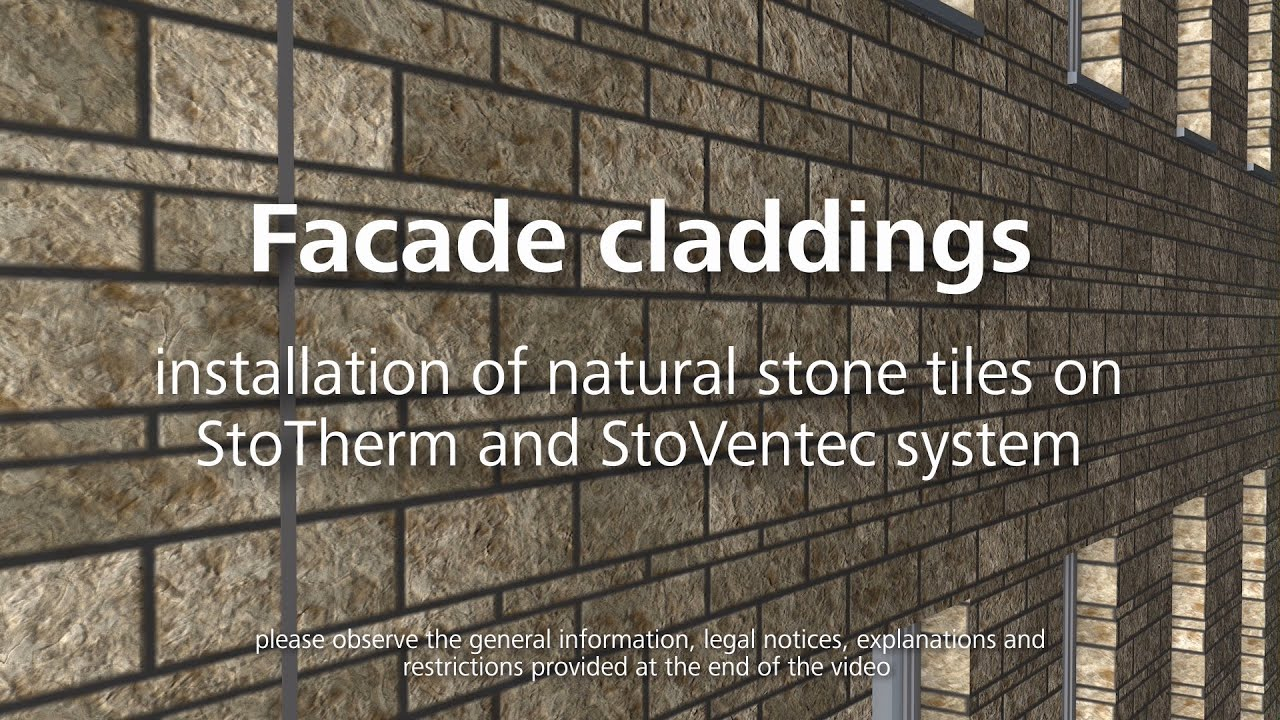 Facade cladding – installing natural stone tiles - YouTube