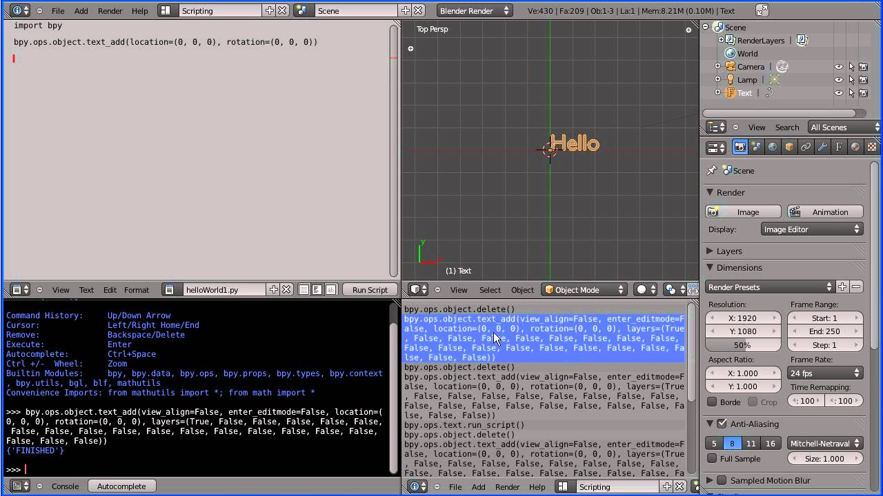Blender 2 5 Introduction to Python Scripting Displaying 'Hello World'  Tutorial