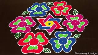 Beautiful Flowers Rangoli Designs for Sankranti With 19 to 10 Dots [Rangoli Dizain]