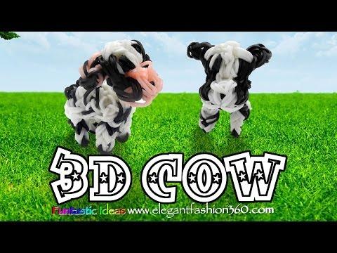 rainbow-loom-3d-cow-charm---how-to---animal-series